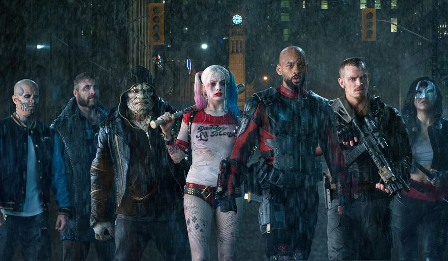 "This image released by Warner Bros. Pictures shows, from left, Jay Hernandez as Diablo, Jai Courtney as Boomerang, Adewale Akinnuoye-Agbaje as Killer Croc, Margot Robbie as Harley Quinn, Will Smith as Deadshot, Joel Kinnaman as Rick Flag and Karen Fukuhara as Katana in a scene from ""Suicide Squad."" (Clay Enos/Warner Bros. Pictures via AP)"