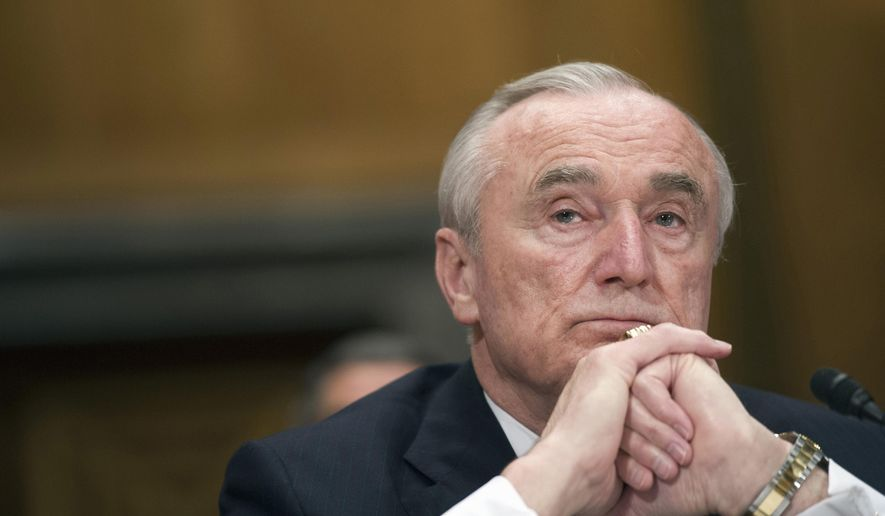 File- This Feb. 2, 2016, file photo shows New York City Police Commissioner William Bratton listening while testifying on Capitol Hill in Washington before the Senate Homeland Security and Government Affairs Committee hearing on the frontline response to terrorism.   Bratton is resigning his post atop the nation's largest police force. Mayor Bill de Blasio announced Tuesday, Aug. 2, 2016, that Bratton will retire next month, and that James O'Neill, the department's top chief, will succeed him. Bratton had said last month that he would not remain head of the NYPD past the end of de Blasio's first term in 2017. (AP Photo/Cliff Owen, File)