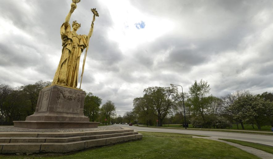 FILE - This May 12, 2015 file photo shows Jackson Park in Chicago. The decision to build Barack Obama's presidential library at the lakefront park rather than a nearby impoverished neighborhood has left some residents worried the museum will deliver less of a boost to the South Side. Some say Washington Park, a mile to the west, has greater needs because of poverty and population decline, and the location decision is a missed opportunity to spur development there. (AP Photo/Paul Beaty, File)