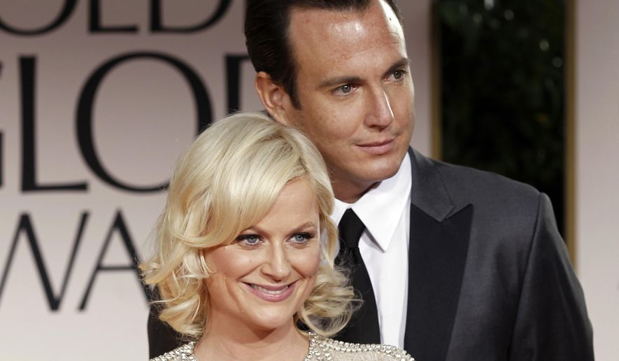 FILE - This Jan. 15, 2012 file photo shows actors Amy Poehler, left, and Will Arnett arriving at the 69th Annual Golden Globe Awards in Los Angeles. Court records show a Los Angeles judge finalized the couple's divorce on Friday, July 29, 2016, nearly four years after the separated. (AP Photo/Matt Sayles, file)