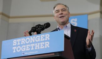 """At a campaign rally in North Carolina, Democratic vice presidential nominee Tim Kaine asked his audience, """"Does anybody in this room believe Donald Trump? Does anybody in this room think there's something funny in those tax returns?"""" (Associated Press)"""