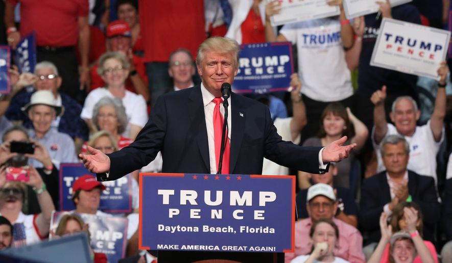 Republican presidential candidate Donald Trump holds a rally at Ocean Center in Daytona Beach, Fla., Wednesday, Aug. 3, 2016. (Red Huber/Orlando Sentinel via AP)