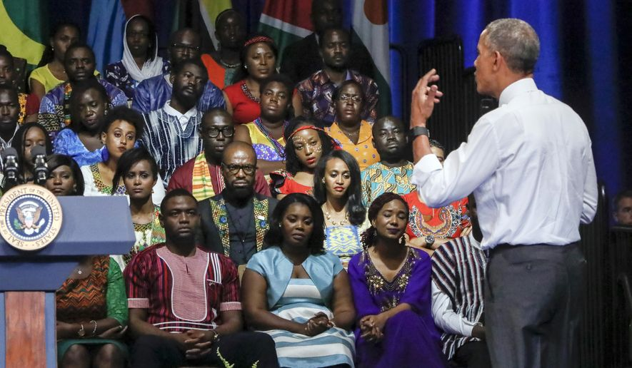 President Obama addresses the Young African Leaders Initiative on Wednesday in Washington. He initiated the program in 2010 to support young African leaders in hope of strengthening democratic governance and encouraging peace and security across Africa. (Associated Press)