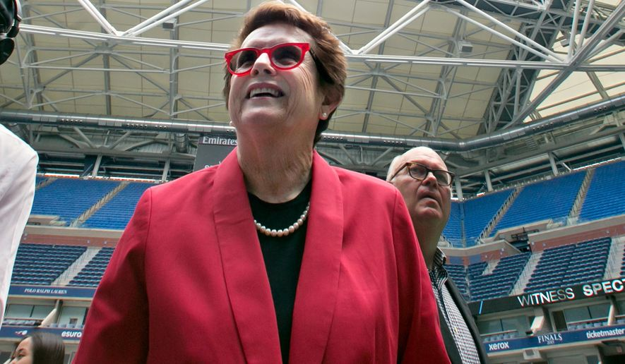 "In this Aug. 2, 2016 photo, tennis great Billie Jean King looks over Arthur Ashe Stadium at her namesake Billie Jean King National Tennis Center, in the Queens borough of New York. King, founder of the Women's Sports Foundation, said in a statement that a report released Wednesday, Aug. 3, 2016 by the Institute for Diversity and Ethics in Sport ""reinforces that our international and national federations need to bring more women in leadership roles and bring about transformational change in the way we manage and lead in sports."" (AP Photo/Richard Drew)"