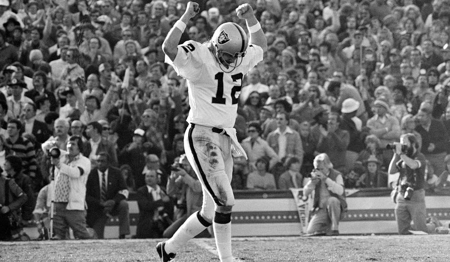 FILE - In this Jan. 9, 1977, file photo, Oakland Raiders quarterback Ken Stabler celebrates completing a touchdown pass en route to his team's 32-14 victory over the Minnesota Vikings in the NFL football Super Bowl in Pasadena, Calif. The only thing missing when Stabler is inducted into the Hall of Fame on Aug. 6, 2016, will be Stabler himself.  (AP Photo/File)