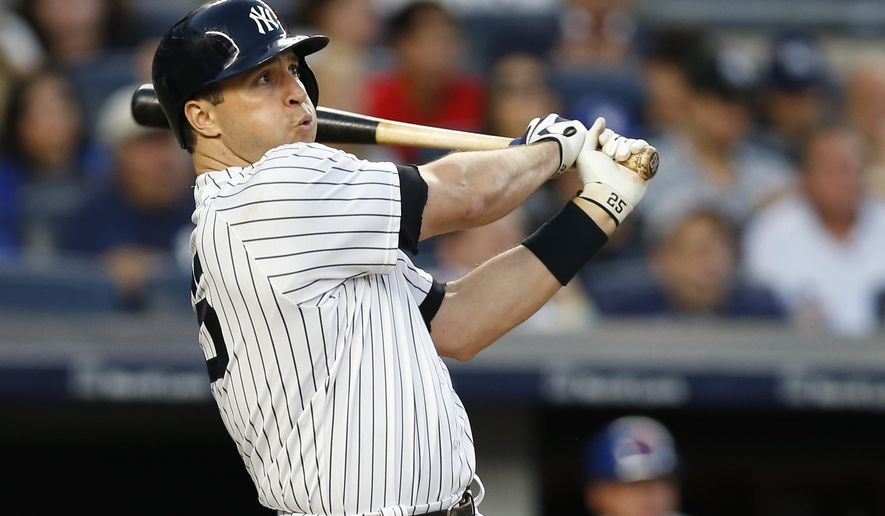 New York Yankees' Mark Teixeira watches his three-run home run off New York Mets starting pitcher Steven Matz during the second inning of a baseball game Wednesday, Aug. 3, 2016, in New York. (AP Photo/Kathy Willens)