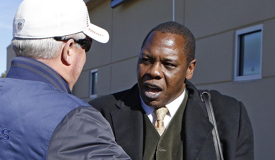 FILE - In this Jan. 9, 2013, file photo, Denver Broncos head coach John Fox, left, greets former linebacker Tom Jackson during football practice at the team's training facility in Englewood, Colo. Hall of Fame broadcaster Tom Jackson is calling it quits after a 29-year career. ESPN announced Wednesday, Aug. 3, 2016,  that the 65-year-old NFL analyst is retiring from broadcasting. Jackson's final assignment will be this weekend at the Pro Football Hall of Fame in Canton, Ohio.  (AP Photo/Ed Andrieski, File)