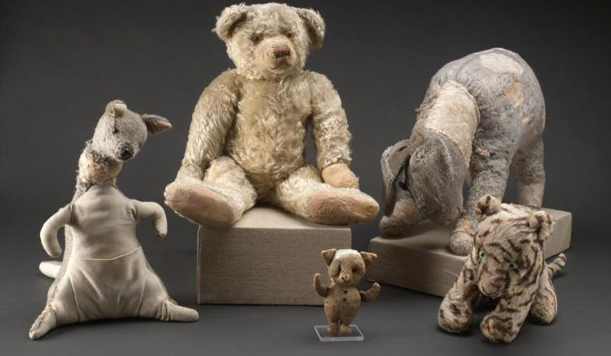 This 2008 photo provided by the New York Public Library's Digital Imaging Unit shows Winnie-the-Pooh and friends original stuffed toy animals in New York before their restoration. After more than a year of much needed repairs by a textile conservator, they went back on display Wednesday Aug. 3, 2016 at the New York Public Library where they've resided since 1987. (New York Public Library's Digital Imaging Unit/Pete Riesett and Steven Crossot via AP)
