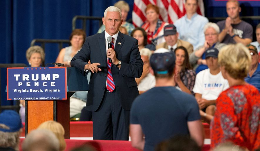 """He is a doer in a game usually reserved for talkers, and when Donald Trump does his talking, he doesn't go tiptoeing around thousands of rules of political correctness laying in the path of men and women who want to take a conservative stand,"" GOP vice presidential candidate Mike Pence said. (Associated Press)"
