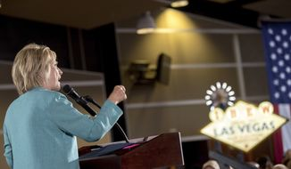 Democratic presidential candidate Hillary Clinton speaks at a rally at International Brotherhood of Electrical Workers Local 357 Hall, in Las Vegas, Thursday, Aug. 4, 2016. (AP Photo/Andrew Harnik)