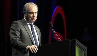 Democratic Vice Presidential candidate, Sen. Tim Kaine, D-Va. speaks at the National Urban League, Thursday, Aug.4, 2016 in Baltimore.  (Caitlin Faw/The Baltimore Sun via AP)