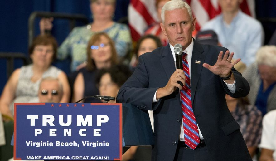 Republican vice presidential candidate, Indiana Gov. Mike Pence gestures as he answers a question during a town hall meeting in Virginia Beach, Va., Thursday, Aug. 4, 2016. (AP Photo/Steve Helber)