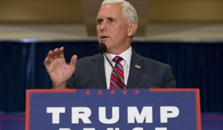Indiana Gov. Mike Pence, the 2016 Republican vice presidential candidate, gestures during a speech in Virginia Beach, Va., on Aug. 4, 2016. (Associated Press)
