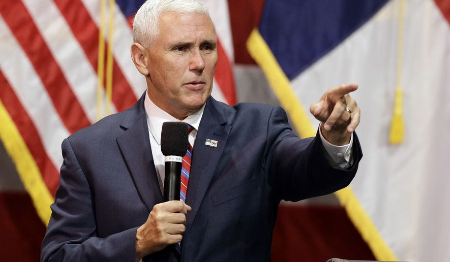 Republican Vice presidential candidate, Indiana Gov. Mike Pence takes question during a town hall meeting in Raleigh, N.C., Thursday, Aug. 4, 2016. (AP Photo/Gerry Broome)