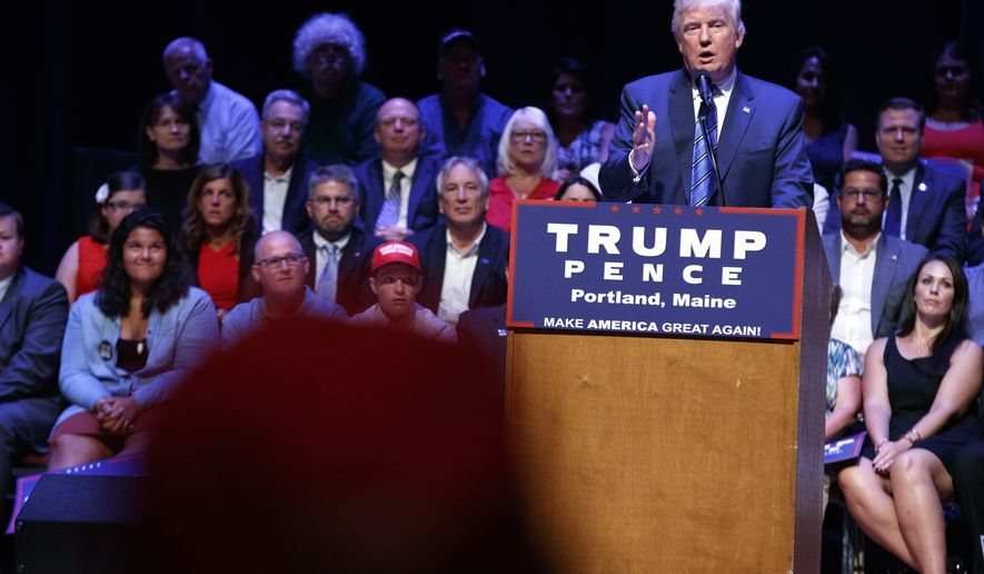 Republican presidential candidate Donald Trump speaks during a campaign rally at Merrill Auditorium, Thursday, Aug. 4, 2016, in Portland, Maine. (AP Photo/Evan Vucci)
