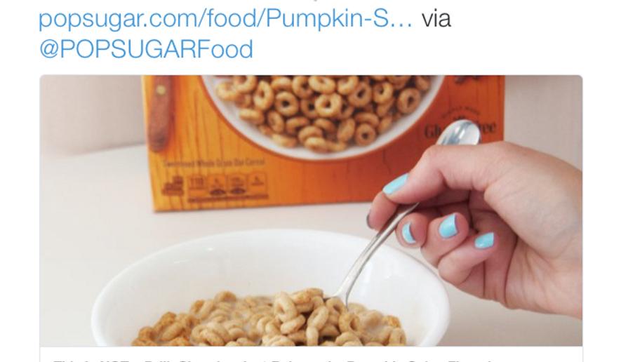 Tweet from Cheerios' official Twitter account announcing Pumpkin Spice Cheerios.