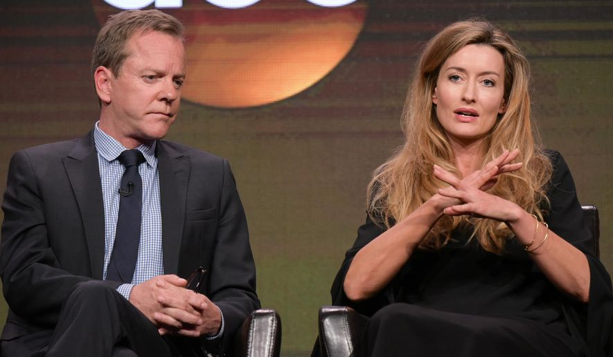 "Kiefer Sutherland, left, and Natascha McElhone participate in the ""Designated Survivor"" panel during the Disney/ABC Television Critics Association summer press tour on Thursday, Aug. 4, 2016, in Beverly Hills, Calif. (Photo by Richard Shotwell/Invision/AP)"