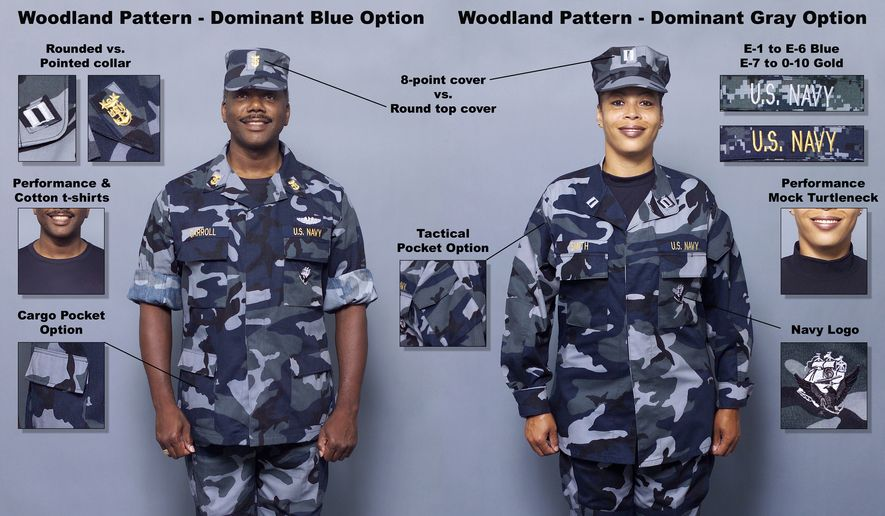 """Blue-and-gray """"aquaflage"""" NWUs, depicted here via Wikimedia Commons. On August 4, 2016, the U.S. Navy announced it was phasing out the uniforms as of October 1."""
