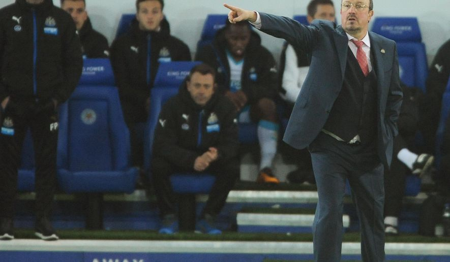 FILE- In this Monday, March 14, 2016 file photo. Newcastle manager Rafael Benitez gestures during the English Premier League soccer match between Leicester City and Newcastle United at the King Power Stadium in Leicester, England. Benitez finds himself in the second tier of English soccer, Thursday Aug. 4, 2016, one day away from starting his bid to guide Newcastle back into the Premier League. (AP Photo/Rui Vieira/File)