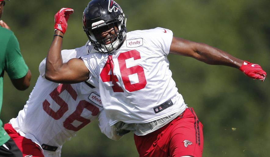 FILE - In this June 29, 2016, file photo, Atlanta Falcons linebacker Torrey Green (46) and linebacker Sean Weatherspoon (56) work a drill during an NFL football practice, in Flowery Branch, Ga. The Falcons have cut rookie free agent linebacker Torrey Green as Utah law enforcement authorities investigate allegations of sexual assault made against him while he was a student at Utah State last year.Falcons owner Arthur Blank said Green was cut Thursday morning, Aug. 4, 2016,  after the team learned of the allegations the night before. (AP Photo/John Bazemore, File)