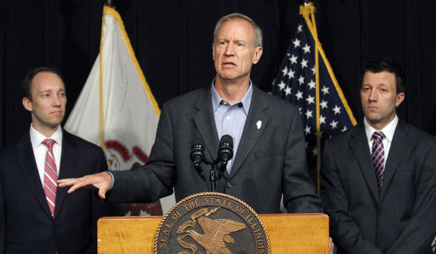 FILE - In this July 28, 2016 file photo Illinois Gov. Bruce Rauner, speaks at a news conference in Chicago. Rauner surprised and angered some lawmakers in his party and conservative groups recently for signing two Democrat-sponsored bills, one extending insurance coverage for nearly all contraceptives and another requiring physicians who refuse to perform abortions for moral and religious reasons to provide information to patients on where they can go for the procedure. (AP Photo/Tae-Gyun Kim File)