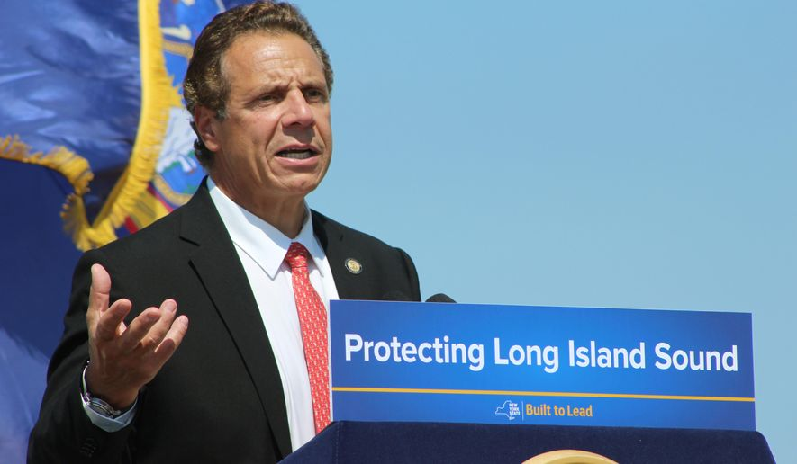 New York Gov. Andrew Cuomo speaks at an event on Thursday, Aug. 4, 2016, at Sunken Meadow State Park in Kings Park, N.Y. Cuomo said Thursday the state would consider legal action if federal officials proceed with plans to expand dumping sites. (AP Photo/Frank Eltman).