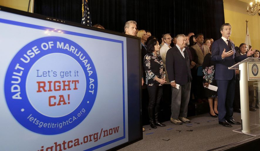 File - In this May 4, 2016 file photo, California Lt. Gov. Gavin Newsom, right, speaks in support of the Adult Use of Marijuana Act ballot measure in San Francisco. Supporters of a California initiative to legalize the use of recreational marijuana filed a lawsuit Thursday, Aug. 4, 2016, accusing opponents of including false and misleading language in official ballot literature. (AP Photo/Jeff Chiu, File)