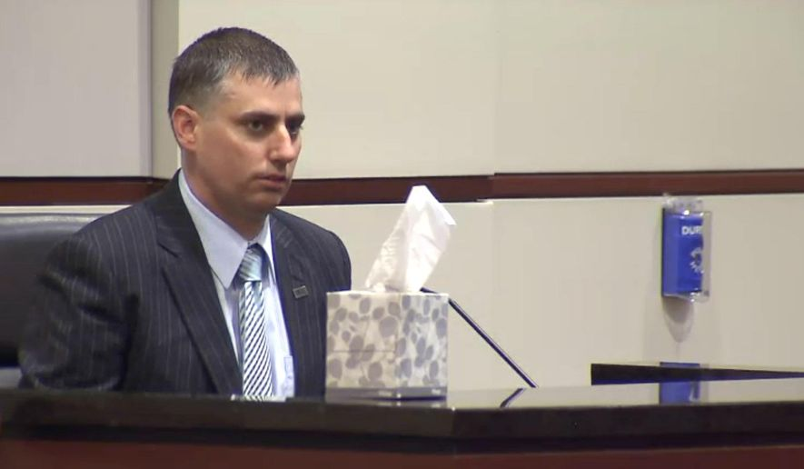 In this image made from a video, former police officer Stephen Rankin answers questions from the prosecution during the penalty phase of the his trial Thursday, Aug. 4, 2016, in Portsmouth, Va. A jury convicted Rankin of voluntary manslaughter on Thursday in the shooting death of an unarmed black man who had been accused of shoplifting. (The Virginian-Pilot via AP, Pool)