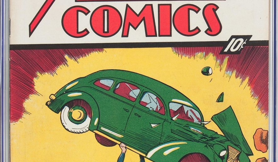 This undated image provided by Heritage Auctions shows a rare copy of Superman's 1938 comic-book. In a statement, Dallas-based Heritage Auctions said the copy of Action Comics No. 1, bearing a cover price of 10 cents, sold Thursday, Aug. 4, 2016, for $956,000. It's one of about 100 copies of the edition known to exist. (Jose Hernandez/Heritage Auctions via AP)