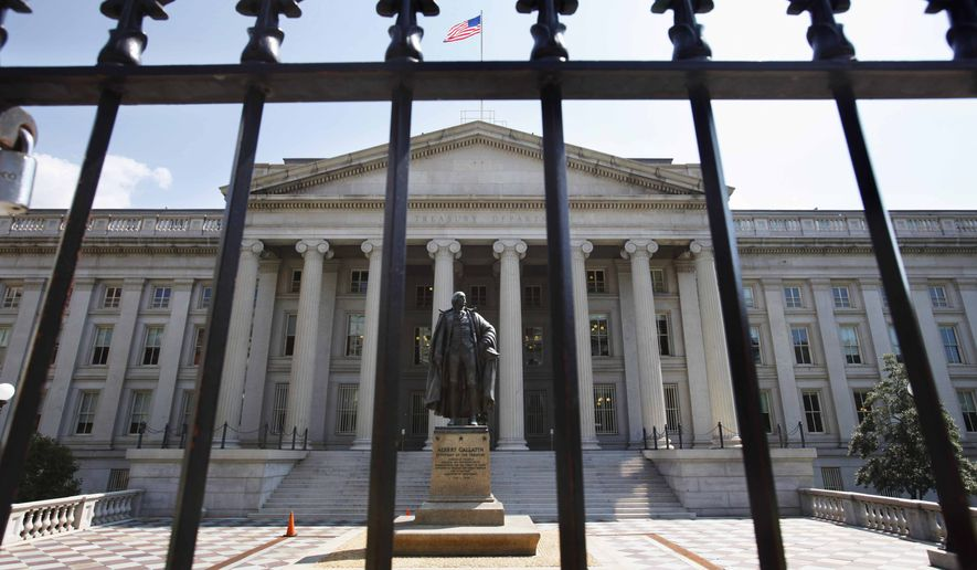 In this Monday, Aug. 8, 2011, file photo, a statue of former Treasury Secretary Albert Gallatin stands guard outside the Treasury Building in Washington, D.C. (AP Photo/Jacquelyn Martin, File) **FILE**