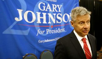 Libertarian presidential candidate Gary Johnson speaks to supporters and delegates at the National Libertarian Party Convention, in Orlando, Fla., on May 27, 2016. (Associated Press) **FILE**