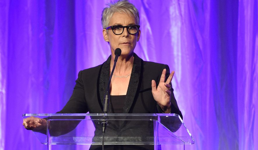 Jamie Lee Curtis speaks at the Hollywood Foreign Press Association Grants Banquet at the Beverly Wilshire hotel on Thursday, Aug. 4, 2016, in Beverly Hills, Calif. (Photo by Chris Pizzello/Invision/AP)