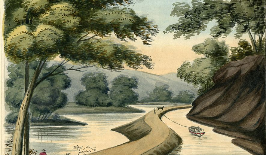 In this 1825 watercolor painting provided by the University of Michigan's William L. Clements Library, a section of the Erie Canal by Episcopalian minister John Henry Hopkins is shown. Arthur Cohn, director of the Lake Champlain Maritime Museum, and co-founder of a Vermont history museum, is traveling New York's Erie Canal and exhibiting prints of rarely-seen, nearly 200-year-old artwork of the waterway. (John Henry Hopkins via William L. Clements Library via AP)