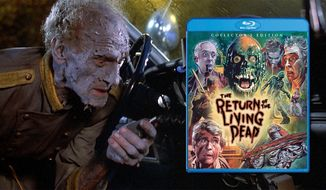 "A zombie requests more paramedics in ""The Return Of The Living Dead: Collector's Edition,"" now available on Blu-ray from Shout! Factory."