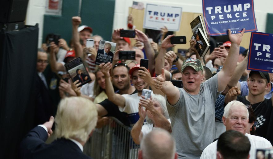 Supporters cheer for Republican presidential candidate Donald Trump during a campaign event at Windham High School, Saturday, Aug. 6, 2016, in Windham, N.H. (AP Photo/Evan Vucci)