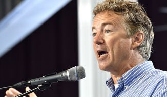 Senator Rand Paul, R-Ky., speaks with the audience at the Fancy Farm Picnic, Saturday, Aug. 6, 2016 in Fancy Farm Ky. (AP Photo/Timothy D. Easley)