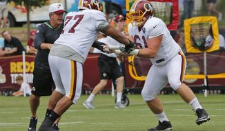 Washington Redskins guard Shawn Lauvao (77) and guard Spencer Long (61) run drills during the afternoon practice at the Washington Redskins NFL football teams training camp in Richmond, Va., Friday, Aug. 5, 2016. (AP Photo/Steve Helber)
