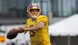 Washington Redskins quarterback Kirk Cousins (8) looks for a receiver during the afternoon practice at the Washington Redskins NFL football teams training camp in Richmond, Va., Tuesday, Aug. 2, 2016. (AP Photo/Steve Helber)