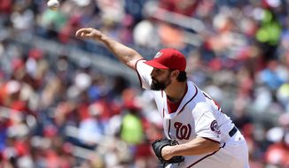 Washington Nationals starting pitcher Tanner Roark delivers during the third inning of a baseball game against the San Francisco Giants, Sunday, Aug. 7, 2016, in Washington. (AP Photo/Nick Wass)