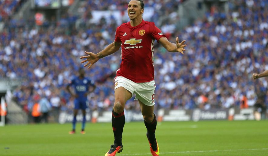 Manchester United's Zlatan Ibrahimovic celebrates after scoring a goal during the Community Shield soccer match between Leicester and Manchester United at Wembley stadium in London, Sunday, Aug. 7, 2016. (AP Photo/Tim Ireland)
