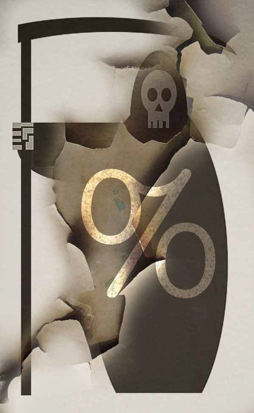"""Illustration on the """"death tax"""" by Alexander Hunter/The Washington Times"""