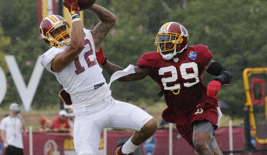 Washington Redskin wide receiver Dez Stewart (12) makes a catch as safety Duke Ihenacho (29) defends during the afternoon practice at the Washington Redskins NFL football teams training camp in Richmond, Va., Friday, Aug. 5, 2016. (AP Photo/Steve Helber)