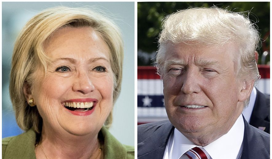 Democratic presidential candidate Hillary Clinton, left, and Republican presidential candidate Donald Trump in these 2016 file photos. (AP Photo) ** FILE **