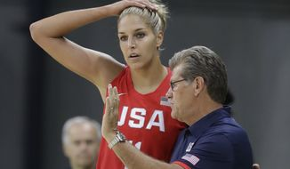 United States guard Elena Delle Donne talks with head coach Geno Auriemma during the first half of a women's basketball game against Spain at the Youth Center at the 2016 Summer Olympics in Rio de Janeiro, Brazil, Monday, Aug. 8, 2016. (AP Photo/Carlos Osorio)