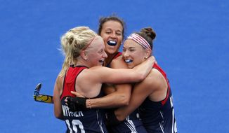 Players of the United States team celebrate after scoring against Australia during a women's field hockey match at the 2016 Summer Olympics in Rio de Janeiro, Brazil, Monday, Aug. 8, 2016. (AP Photo/Dario Lopez-Mills)