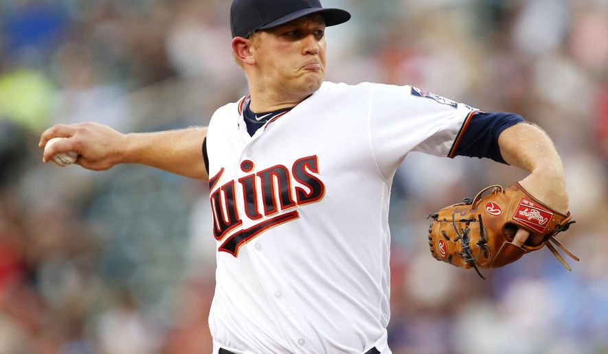 Minnesota Twins starting pitcher Tyler Duffy throws to the Houston Astros in the first inning during a baseball game on Monday, Aug., 8, 2016 in Minneapolis. (AP Photo/Andy Clayton-King)