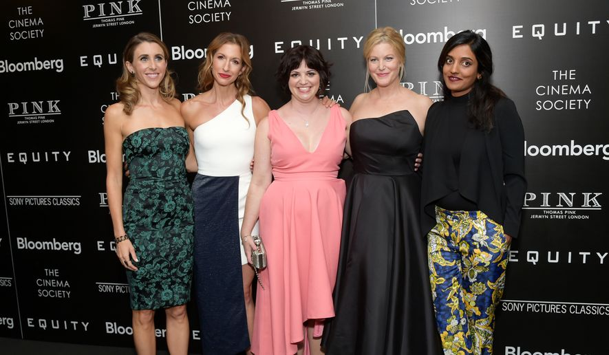 "From left, actors Sarah Megan Thomas, Alysia Reiner, writer Amy Fox, actor Anna Gunn and director Meera Menon attend a special screening of ""Equity,"" hosted by The Cinema Society and Bloomberg, at the Museum of Modern Art on Tuesday, July 26, 2016, in New York. (Photo by Evan Agostini/Invision/AP)"