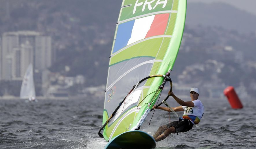 France's Charline Picon competes during the RS:X women race at the 2016 Summer Olympics in Rio de Janeiro, Brazil, Monday, Aug. 8, 2016. (AP Photo/Gregorio Borgia)