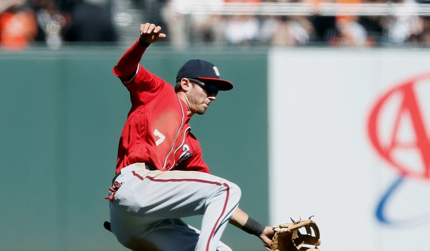 The Nationals' Trea Turner has played much of his time at second base but will pivot back to center field once Ryan Zimmerman returns from the disabled list. (Associated Press)