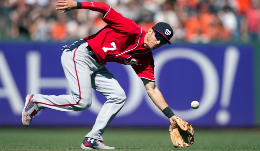 Washington Nationals' Trea Turner can't get a glove on a ball hit by San Francisco Giants' Trevor Brown for a single during the eighth inning of a baseball game Sunday, July 31, 2016, in San Francisco. The Giants won 3-1. (AP Photo/D. Ross Cameron)